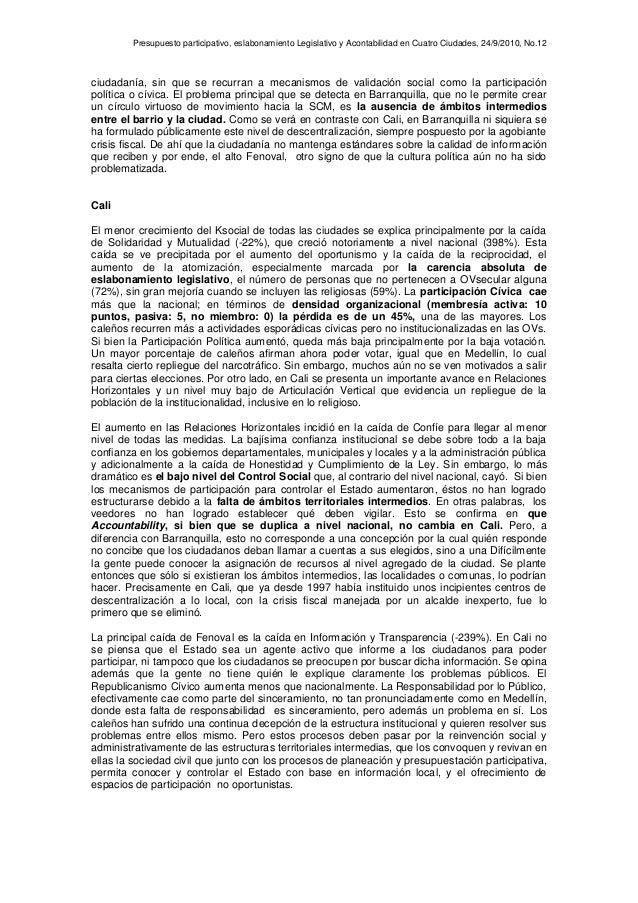 Presupuesto participativo, eslabonamiento Legislativo y Acontabilidad en Cuatro Ciudades, 24/9/2010, No.12 ciudadanía, sin...
