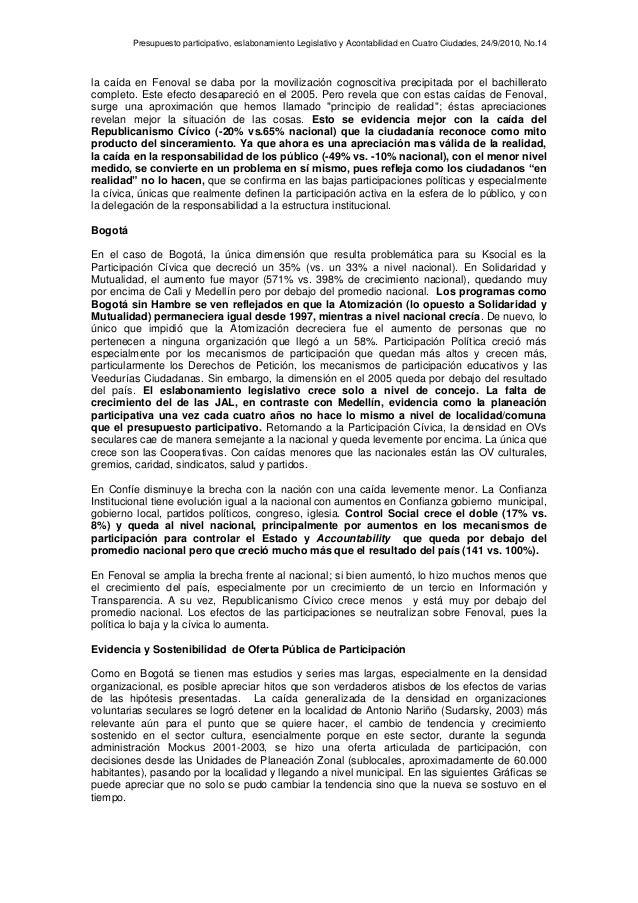 Presupuesto participativo, eslabonamiento Legislativo y Acontabilidad en Cuatro Ciudades, 24/9/2010, No.14 la caída en Fen...
