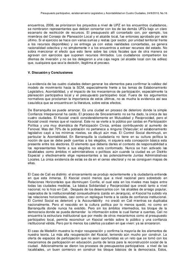 Presupuesto participativo, eslabonamiento Legislativo y Acontabilidad en Cuatro Ciudades, 24/9/2010, No.16 encuentros, 200...