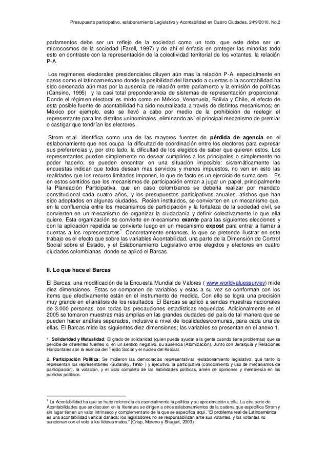 Presupuesto participativo, eslabonamiento Legislativo y Acontabilidad en Cuatro Ciudades, 24/9/2010, No.2 parlamentos debe...