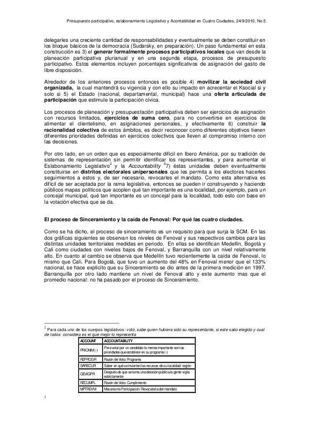 Presupuesto participativo, eslabonamiento Legislativo y Acontabilidad en Cuatro Ciudades, 24/9/2010, No.5 delegarles una c...