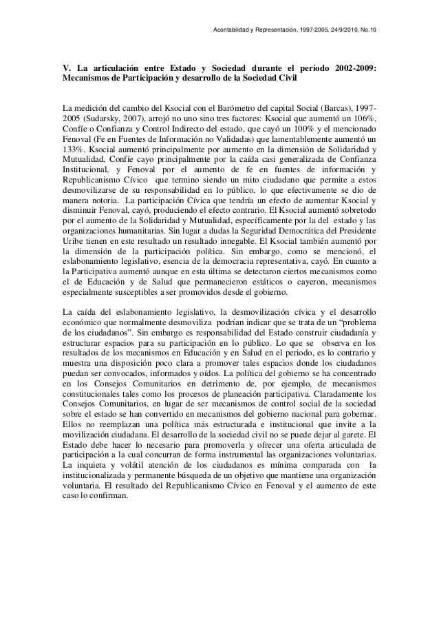 Acontabilidad y Representación, 1997-2005, 24/9/2010, No.10 V. La articulación entre Estado y Sociedad durante el periodo ...
