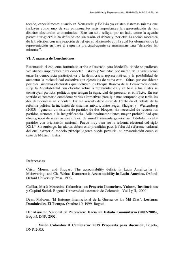 Acontabilidad y Representación, 1997-2005, 24/9/2010, No.16 tocado, especialmente cuando en Venezuela y Bolivia ya existen...