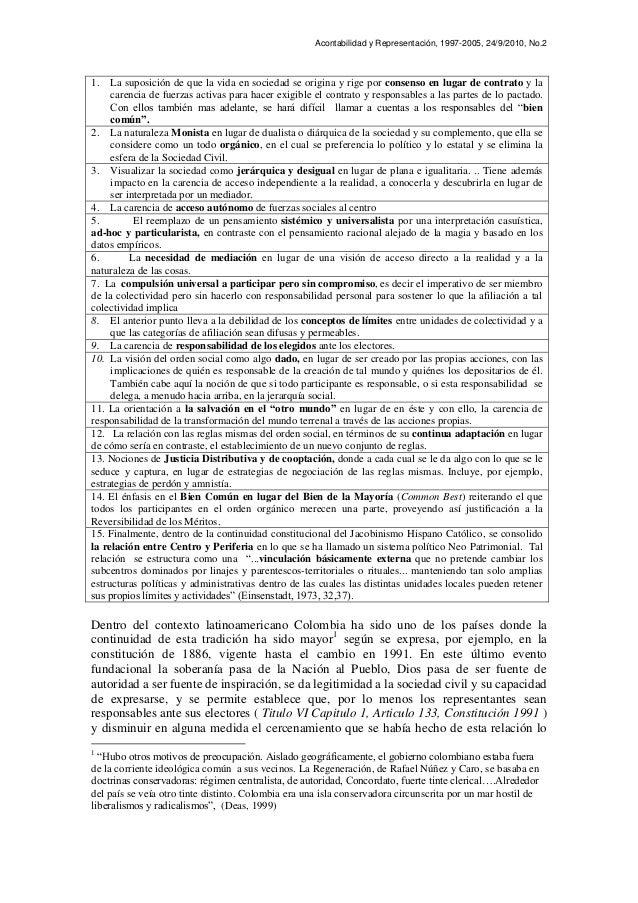 Acontabilidad y Representación, 1997-2005, 24/9/2010, No.2 1. La suposición de que la vida en sociedad se origina y rige p...