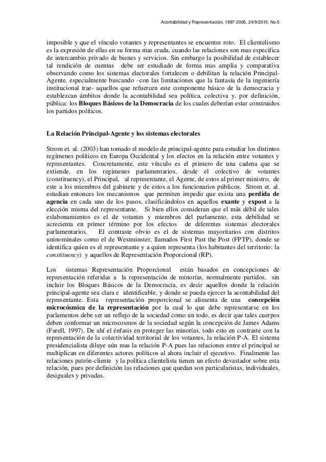 Acontabilidad y Representación, 1997-2005, 24/9/2010, No.5 imposible y que el vínculo votantes y representantes se encuent...
