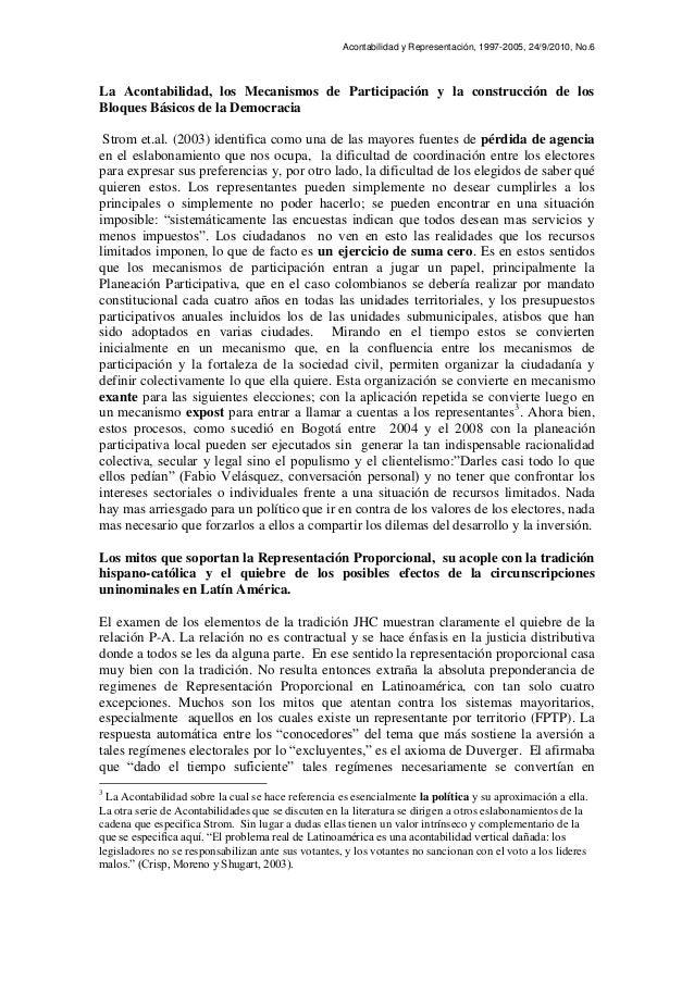 Acontabilidad y Representación, 1997-2005, 24/9/2010, No.6 La Acontabilidad, los Mecanismos de Participación y la construc...