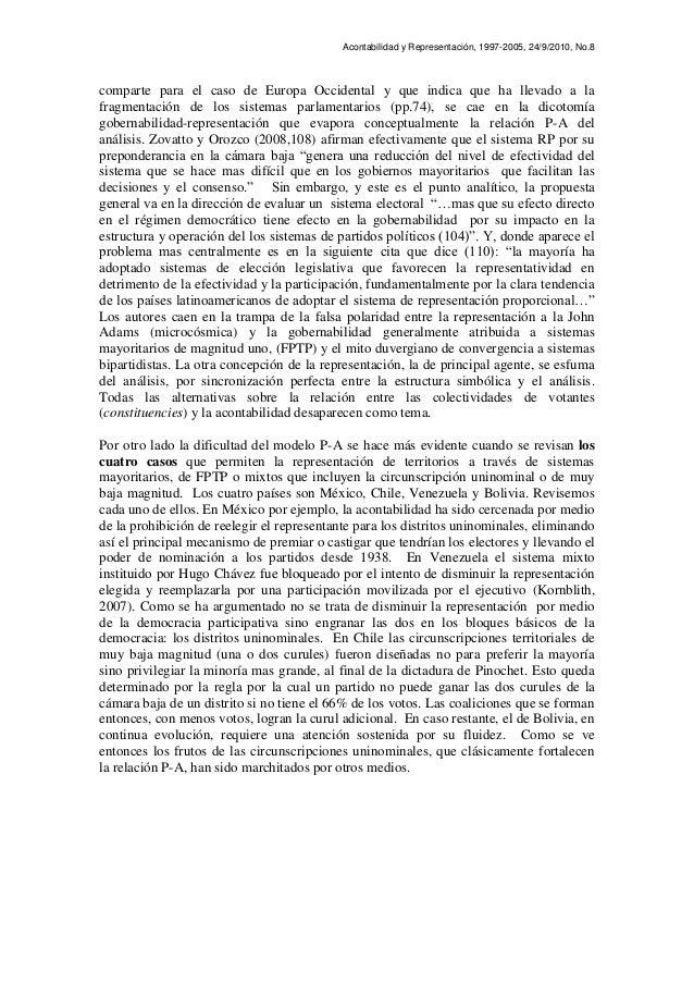 Acontabilidad y Representación, 1997-2005, 24/9/2010, No.8 comparte para el caso de Europa Occidental y que indica que ha ...