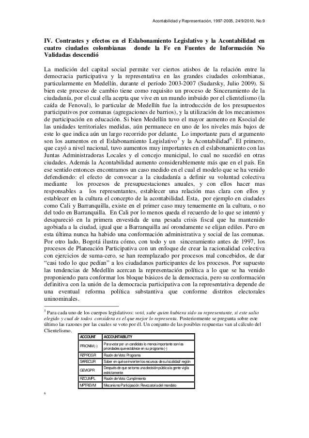 Acontabilidad y Representación, 1997-2005, 24/9/2010, No.9 IV. Contrastes y efectos en el Eslabonamiento Legislativo y la ...