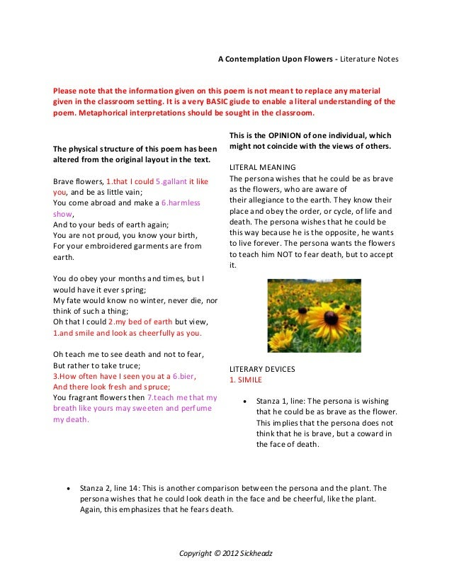 essay on a contemplation upon flowers Psychology essay - divorce is a  how different cultures deal and handle divorce with  p 293) tell us that women have severe restrictions placed upon them on.