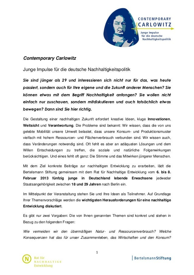 Contemporary CarlowitzJunge Impulse für die deutsche NachhaltigkeitspolitikSie sind jünger als 29 und interessieren sich n...