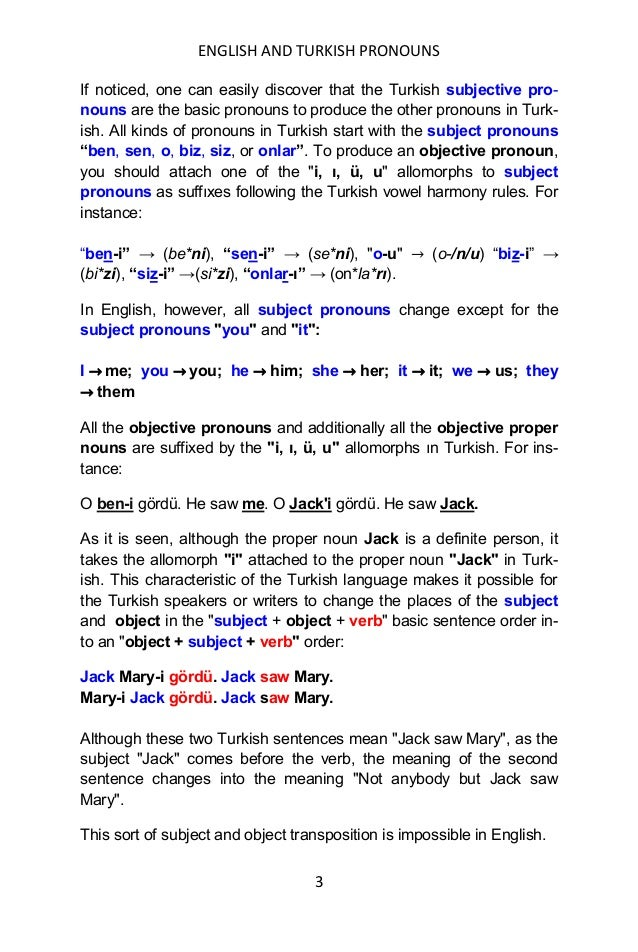 ENGLISH AND TURKISH PRONOUNS 3 If noticed, one can easily discover that the Turkish subjective pro- nouns are the basic pr...