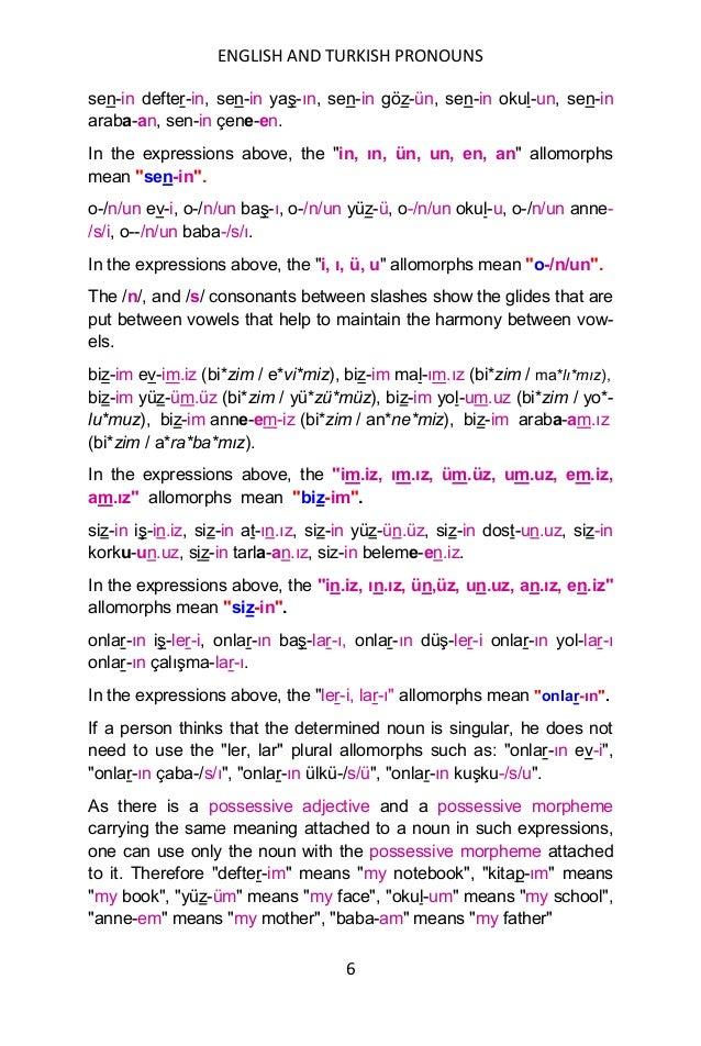 ENGLISH AND TURKISH PRONOUNS 6 sen-in defter-in, sen-in yaş-ın, sen-in göz-ün, sen-in okul-un, sen-in araba-an, sen-in çen...
