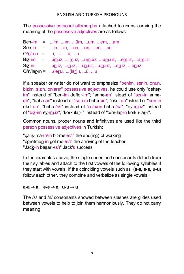 ENGLISH AND TURKISH PRONOUNS 7 The possessive personal allomorphs attached to nouns carrying the meaning of the possessive...