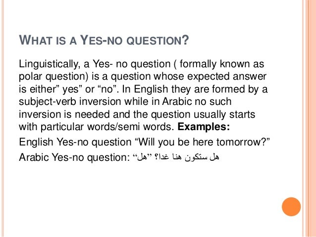 A Contrastive Analysis Of Yes No Questions In English 2
