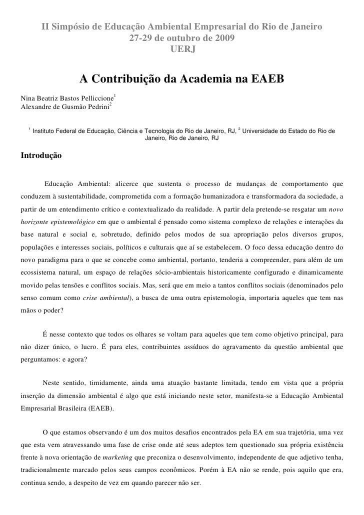 II Simpósio de Educação Ambiental Empresarial do Rio de Janeiro                              27-29 de outubro de 2009     ...