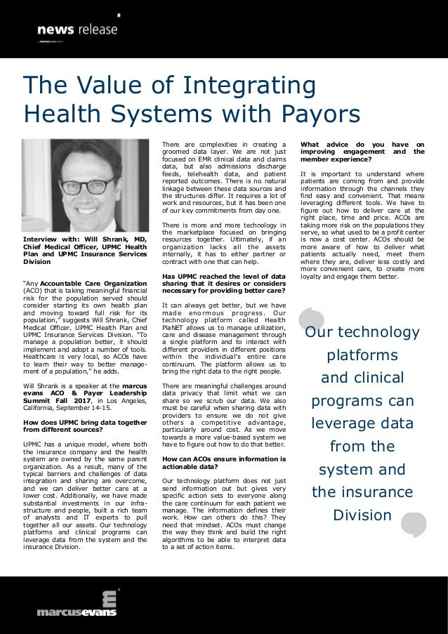 The Value of Integrating Health Systems with Payors-Will