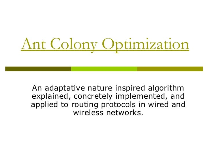 Ant Colony Optimization An adaptative nature inspired algorithm explained, concretely implemented, and applied to routing ...