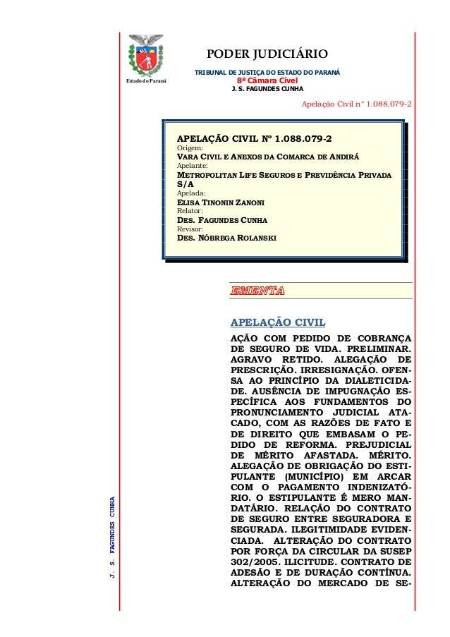 PODER JUDICIÁRIO TRIBUNAL DE JUSTIÇA DO ESTADO DO PARANÁ 8ª Câmara Cível J. S. FAGUNDES CUNHA Apelação Civil n° 1.088.079-...