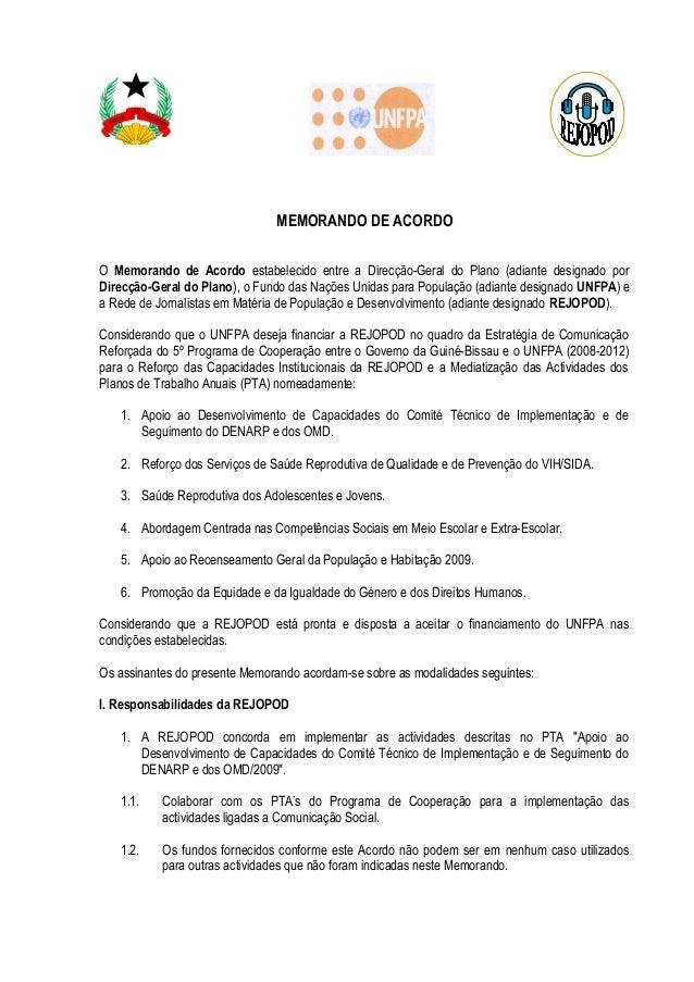 MEMORANDO DE ACORDO O Memorando de Acordo estabelecido entre a Direcção-Geral do Plano (adiante designado por Direcção-Ger...