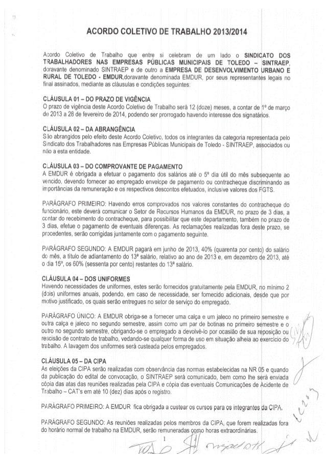 Acordo Coletivo 2013/2014