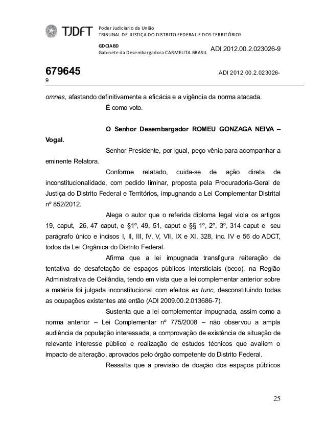 Poder Judiciário da UniãoTRIBUNAL DE JUSTIÇA DO DISTRITO FEDERAL E DOS TERRITÓRIOSGDCIABDGabinete da Desembargadora CARMEL...