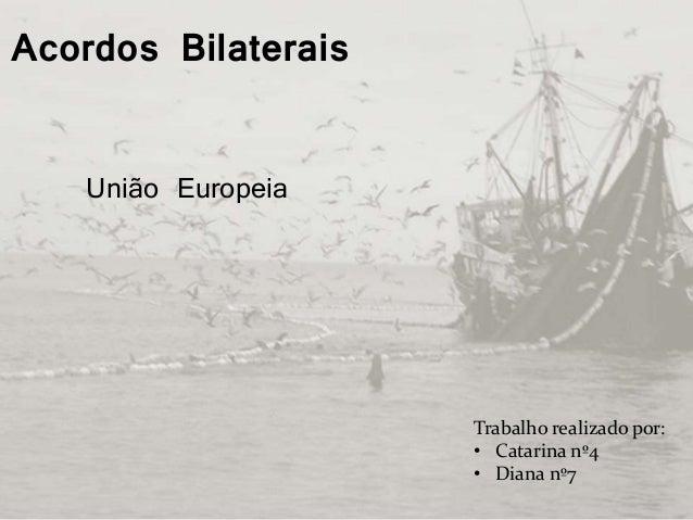Acordos Bilaterais Trabalho realizado por: • Catarina nº4 • Diana nº7 União Europeia