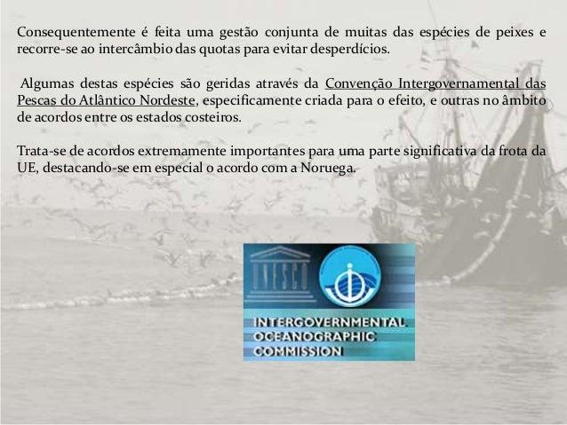 Consequentemente é feita uma gestão conjunta de muitas das espécies de peixes e recorre-se ao intercâmbio das quotas para ...
