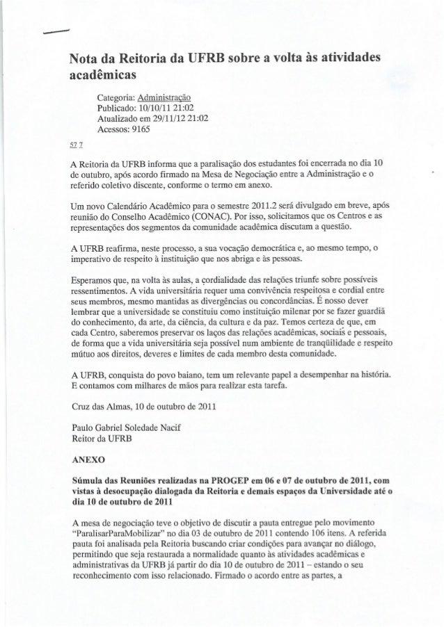 """.. .r-""""íi  Nota da Reitoria da UFRB sobre a volta às atividades acadêmicas  Categoria:  Administração Publicado:  10/10/11..."""
