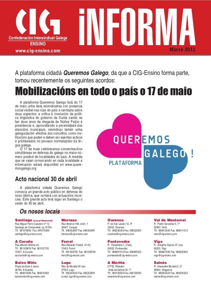 Confederación Intersindical Galega        ENSINO   www.cig-ensino.com                                                     ...