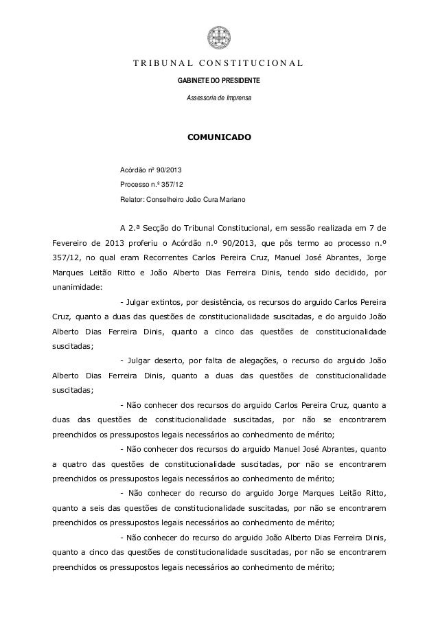 TRIBUNAL CONSTITUCIONAL                                    GABINETE DO PRESIDENTE                                         ...
