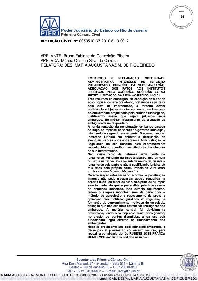 Poder Judiciário do Estado do Rio de Janeiro  Primeira Câmara Cível  APELAÇÃO CÍVEL Nº 0050510-37.2010.8.19.0042  Secretar...