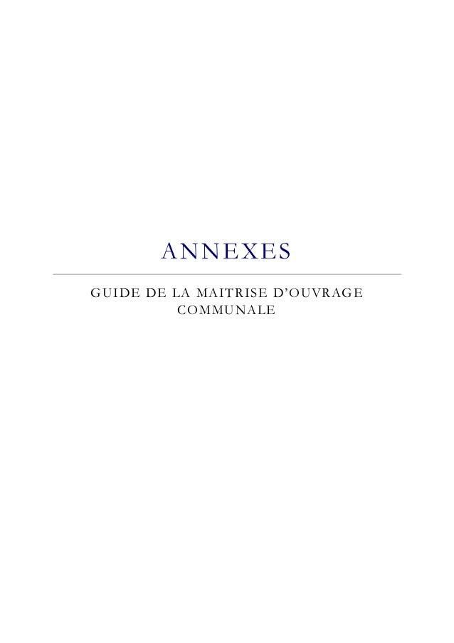 ANNEXES  GUIDE DE LA MAITRISE D'OUVRAGE  COMMUNALE