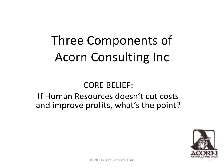 Three Components of                  Acorn Consulting Inc<br />CORE BELIEF:<br />If Human Resources doesn't cut costs and ...