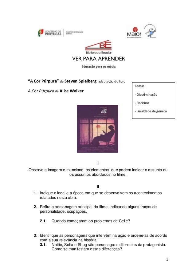 """1 """"A Cor Púrpura"""" de Steven Spielberg, adaptação do livro A Cor Púrpura de Alice Walker I Observe a imagem e mencione os e..."""