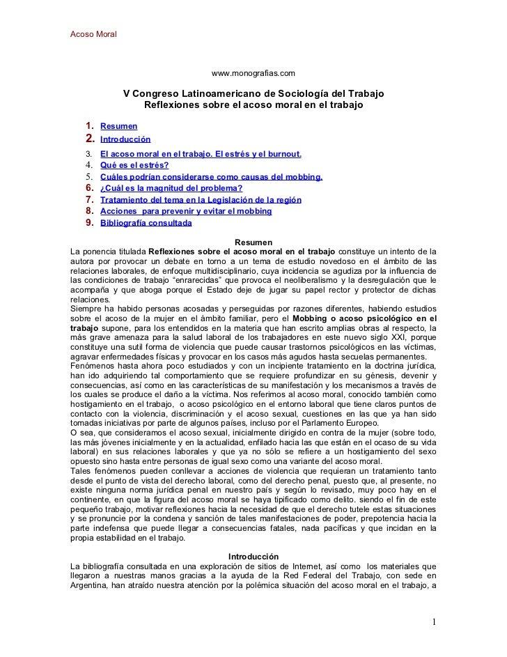 Acoso Moral                                      www.monografias.com              V Congreso Latinoamericano de Sociología...