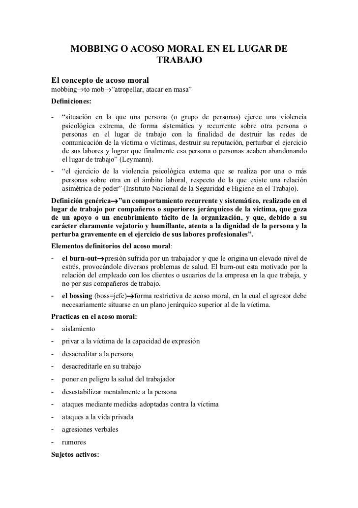 """MOBBING O ACOSO MORAL EN EL LUGAR DE                    TRABAJOEl concepto de acoso moralmobbing→to mob→""""atropellar, ataca..."""