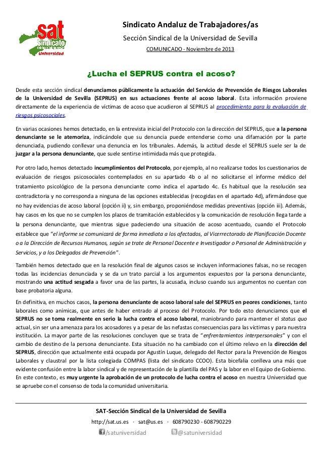 Sindicato Andaluz de Trabajadores/as Sección Sindical de la Universidad de Sevilla COMUNICADO - Noviembre de 2013  ¿Lucha ...