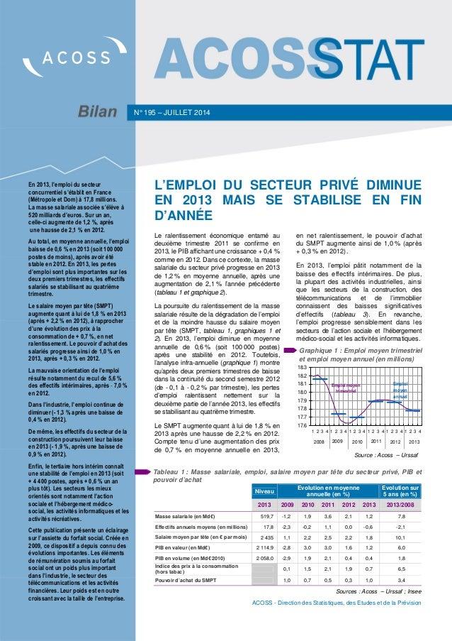 ACOSS - Direction des Statistiques, des Etudes et de la Prévision Tableau 1 : Masse salariale, emploi, salaire moyen par t...