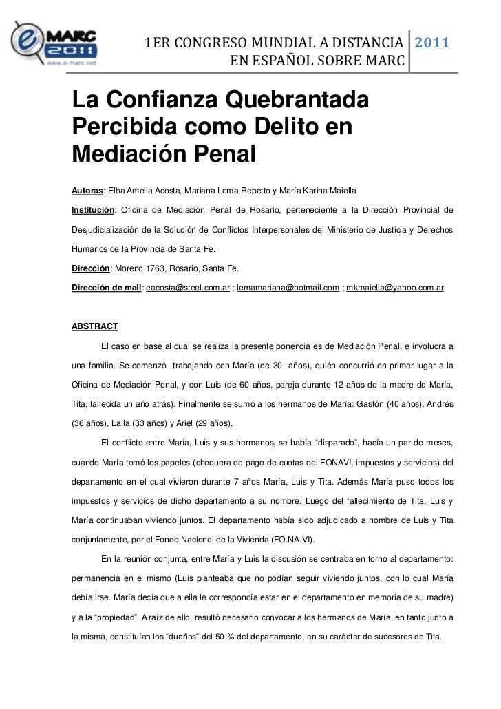 1ER CONGRESO MUNDIAL A DISTANCIA 2011                              EN ESPAÑOL SOBRE MARCLa Confianza QuebrantadaPercibida ...