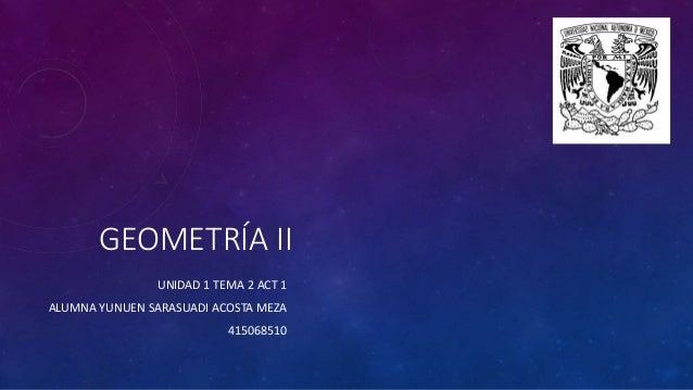 GEOMETRÍA II UNIDAD 1 TEMA 2 ACT 1 ALUMNA YUNUEN SARASUADI ACOSTA MEZA 415068510