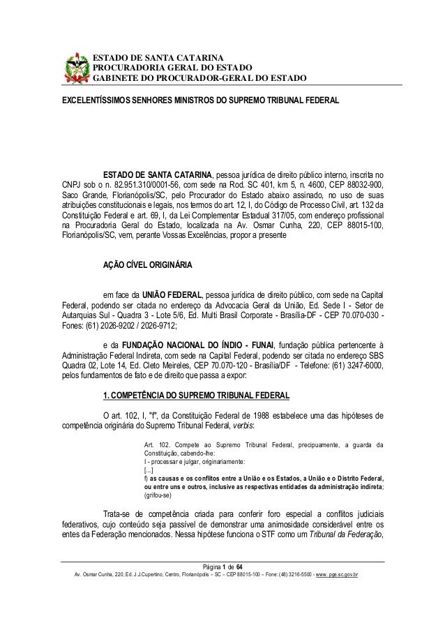 ESTADO DE SANTA CATARINA PROCURADORIA GERAL DO ESTADO GABINETE DO PROCURADOR-GERAL DO ESTADO EXCELENTÍSSIMOS SENHORES MINI...