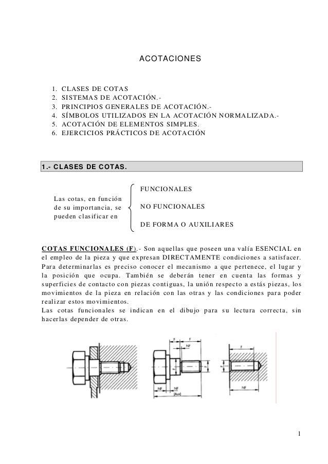 ACOTACIONES 1. CLASES DE COTAS 2. SISTEMAS DE ACOTACIÓN.- 3. PRINCIPIOS GENERALES DE ACOTACIÓN.- 4. SÍMBOLOS UTILIZADOS EN...
