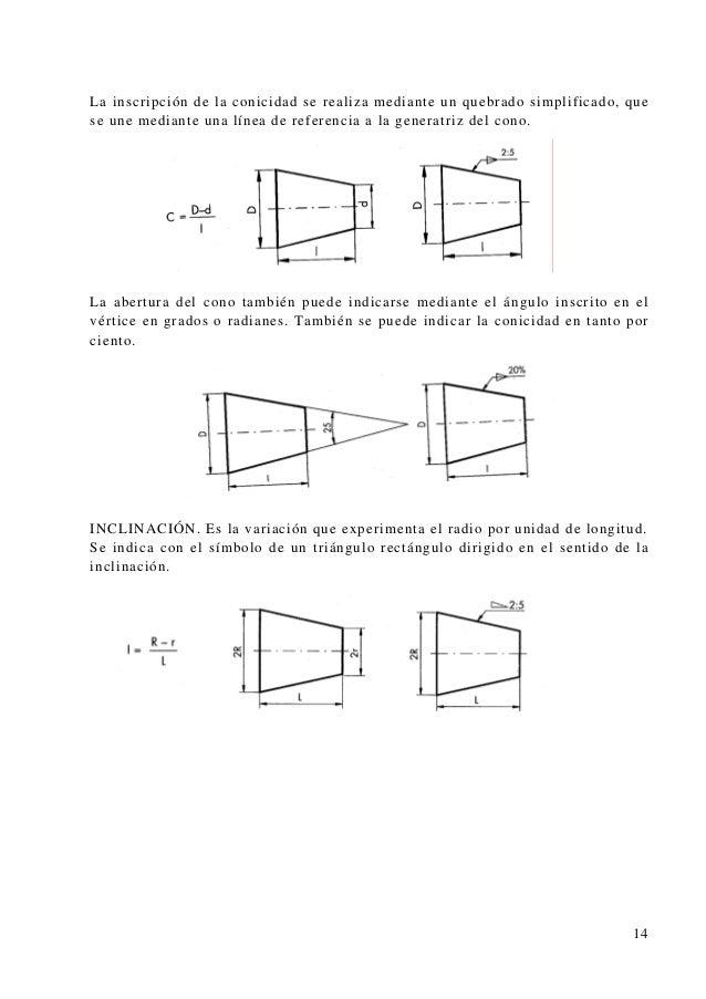 La inscripción de la conicidad se realiza mediante un quebrado simplificado, que se une mediante una línea de referencia a...