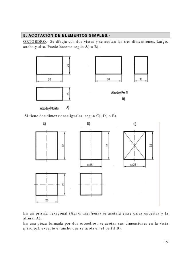 5. ACOTACIÓN DE ELEMENTOS SIMPLES.- ORTOEDRO.- Se dibuja con dos vistas y se acotan las tres dimensiones. Largo, ancho y a...