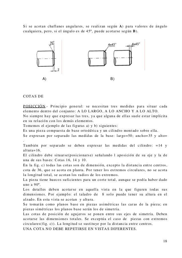 Si se acotan chaflanes angulares, se realizan según A) para valores de ángulo cualquiera, pero, si el ángulo es de 45º, pu...