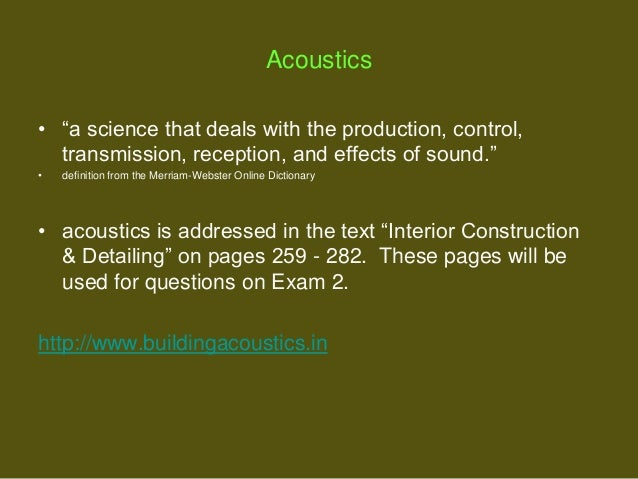 acoustics deals with