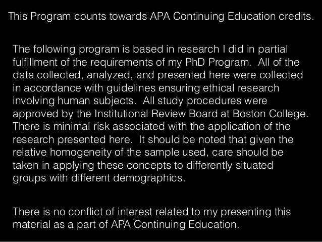 This Program counts towards APA Continuing Education credits. The following program is based in research I did in partial ...