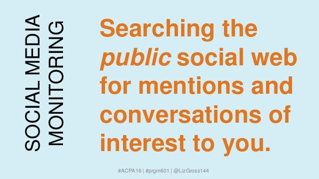 SOCIALMEDIA MONITORING Searching the public social web for mentions and conversations of interest to you. #ACPA16 | #prgm6...