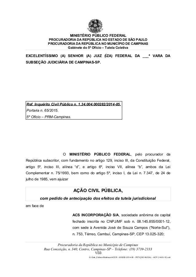 MINISTÉRIO PÚBLICO FEDERAL PROCURADORIA DA REPÚBLICA NO ESTADO DE SÃO PAULO PROCURADORIA DA REPÚBLICA NO MUNICÍPIO DE CAMP...