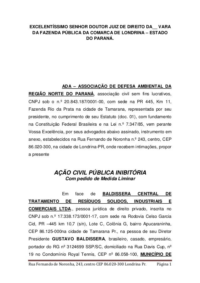 EXCELENTÍSSIMO SENHOR DOUTOR JUIZ DE DIREITO DA__ VARA  DA FAZENDA PÚBLICA DA COMARCA DE LONDRINA – ESTADO  DO PARANÁ.  AD...